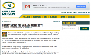 Green and Gold Rugby Review of Bubble Boys